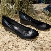 Womens COLE HAAN Black Leather Elsie Cap Toe Wedge II Shoes D41737-001 U... - $59.95