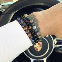 3pcs/set Natural Black Stone Beads Bracelet Men Hematite Beaded Bracelet - $15.45