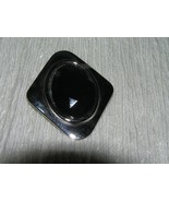 Estate Black Oval Faceted Plastic Cab Set in Diamond Shape Silvertone Sc... - $5.89