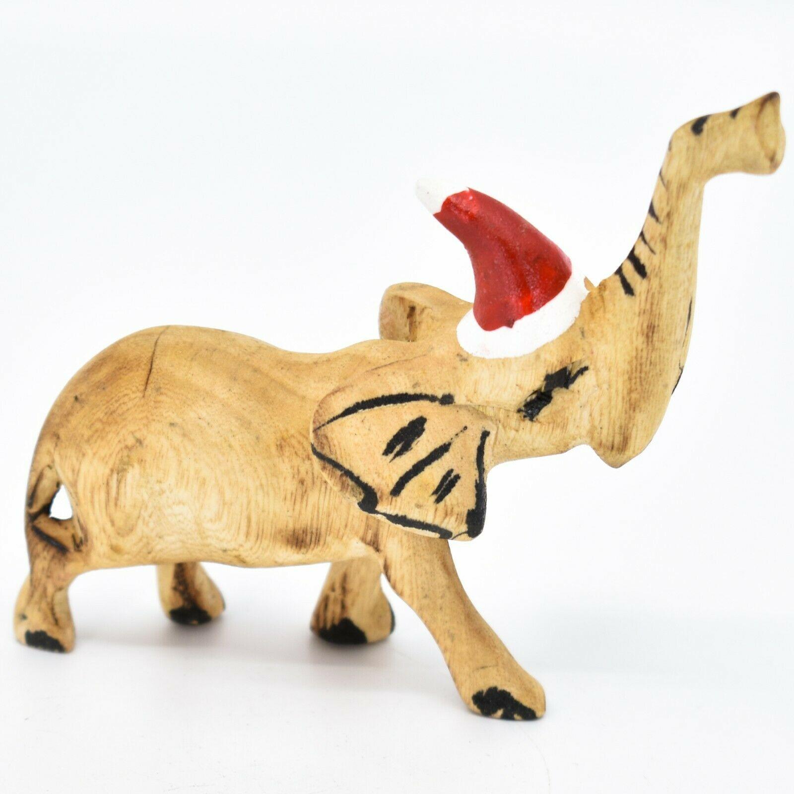 Hand Carved & Painted Jacaranda Wood Santa Hat Elephant Safari Christmas Figure