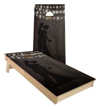 Husband and Wife Silhoutte string lights cornhole boards - $179.00