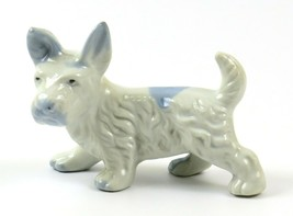 Vintage 1950's White and Blue Scotty Dog Scottish Terrier Figurine, Japan - $21.77