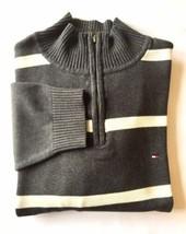 Tommy Hilfiger Men's Half Zip Sweater Medium Grey Offwhite Stripe - $21.92