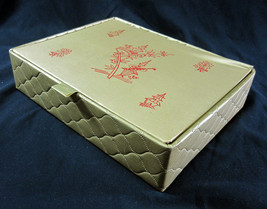 Glove Box Kitschy Asian Padded Quilted Gold Vinyl Vanity Vintage 1950s S... - $24.99