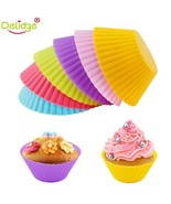 12pcs Round Shape Muffin Cupcake Mold Colorful Silicone Cupcakes Bakin F... - $8.86