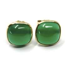 18K YELLOW GOLD BUTTON LOBE EARRINGS, CABOCHON SQUARE GREEN AGATE DIAMETER 9mm image 1