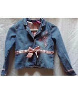 BARBIE Girl's 6X Youth Jean Denim Jacket Embroidered Pink Bow Stylish an... - $17.00