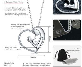 Necklace Silver Heart Necklace Pendant Choker Anniversary Mother's Day G... - $20.00
