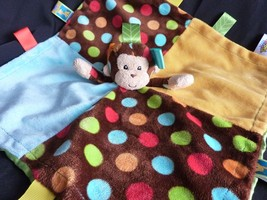 Taggies Monkey Lovey Yellow Blue Patchkin Pals Bright Security Blanket Baby Toy - $13.18