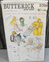 Butterick 5708 Layette Set Baby Pattern Christening Sleepwear Sleepbag* - $12.99