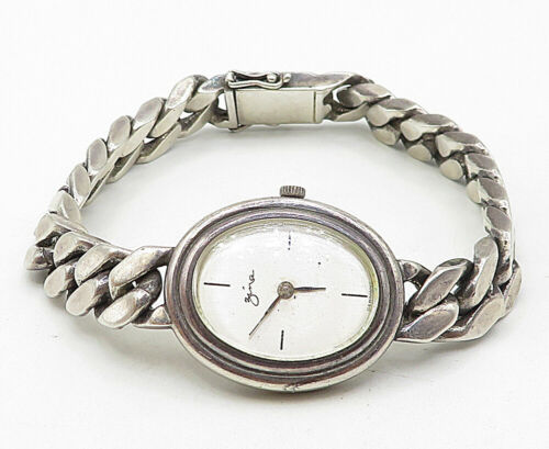GERMANY 925 Silver - Vintage Watch Curb Link Chain Bracelet - B5145 image 2