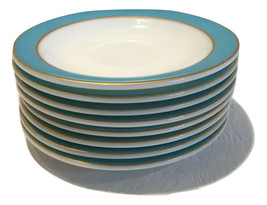 Pyrex Saucers White w/ Turquoise & Gold Bands 8 Plates Milk Glass Vintag... - $38.70