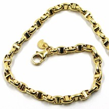 9K YELLOW GOLD NAUTICAL MARINER BRACELET OVALS 3.5 MM THICKNESS 8.3 INCH... - $155.00