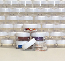 200 Plastic Beauty Containers Small Sample Cosmetic Jars White Cap 3 Gra... - $41.99