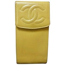 Vintage CHANEL mustard yellow caviarskin iPhone, mobile phone case, sung... - $238.00