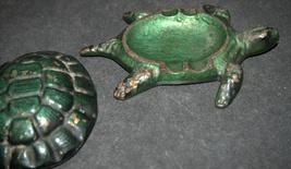 Vintage Bronze Green Ashtray Trinket Tray Box Turtle Tortoise image 5