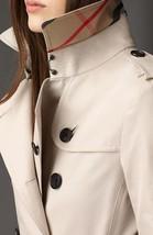 London Designer Trench Coat Jacket Nova Check Plaid Collar Gold Buttons 6 M $399 - $139.89