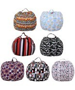 Storage Bean Bag Chair Portable Kids Plush Toy Clothes Organizer With Ha... - $24.58 CAD