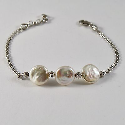 925 Silver Bracelet with Faceted Beads and Pearls Flat 19 cm long