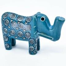 Hand Carved Kenyan Kisii Soapstone Blue Swirl Tembo Elephant Figurine