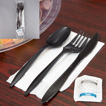 Black Plastic Cutlery Set with Napkin and Salt and Pepper Packets - 250/... - £21.06 GBP