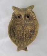 Owl Trinket Dish, Brass or Gold Tone, Jeweled Eyes - $12.00