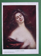 LOVELY MAIDEN Happy Smile - COLOR Print Antique - $12.60