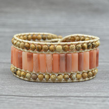 Fashion Bohemian Yellow Natural Stone Beads Bracelets Leather Wrap Brace... - $26.65