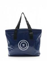 Chanel tote bag navy white black PVC nylon waterproof - $660.84