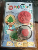 NEW MIP Wilton Push 'N Print Cookie Making Set with 3 Jolly Designs! - $12.99