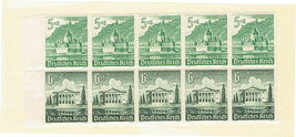 1940 Winter Relief Booklet Pane of 10 Germany Stamps Catalog B179a MNH