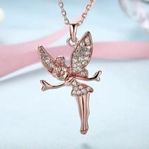 18K Rose Gold Plated Swarovski Elements Flying Angel Necklace - $11.88