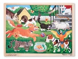 Melissa & Doug Pets at Play Wooden Jigsaw Puzzle With Storage Tray (24 pcs) - $9.65
