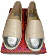 Tory Burch Beige Leather Silver cap Toe Espadrilles Ballet Flats Loafers 8 - $139.00