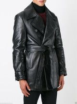 Men Leather Coat Winter Long Leather Coat Genuine Real Leather Trench COAT-UK49 - $214.46