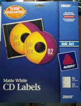 2 Packs Avery Matte White CD Labels, 16 Face Labels and 32 Spine Labels - $10.88