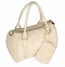 Sweetheart Cream Women's Handbag Faux Fur Purse, shoulder bag, retro gir... - $40.99