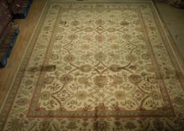 New Smooth Wool Authentic Handmade 10' x 14' Beige Jaipur Wool Rug image 2