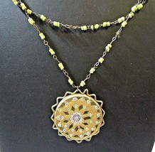 Yellow Glass Beads Dainty On Wires Gold Tone 'sun' Abstract Pendant Glass India - $18.00