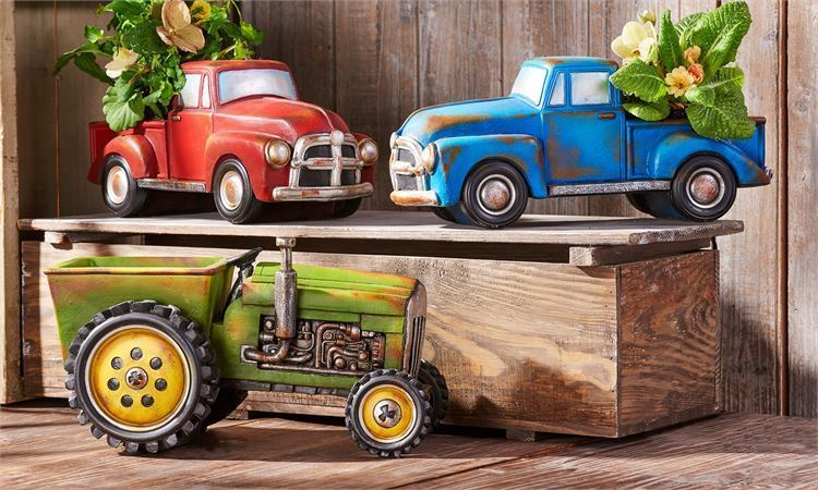 Farm Vehicle Design Planters 3 variations Green Tractor, Red Truck & Blue Truck