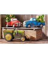 Farm Vehicle Design Planters 3 variations Green Tractor, Red Truck & Blu... - $89.99
