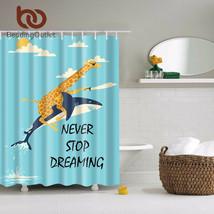 Gle giraffe ride shark shower curtain animals kids bathroom curtain set with hooks 71 x thumb200