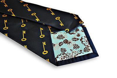 Marineblau Herren Krawatte mit Gold Schlüssel von Frederick Thomas ft3231