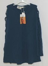 Simply Noelle Curtsy Couture Girls Cutout Long Sleeve Shirt Misty Blue Medium image 1