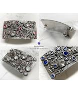 Rhinestone Crystal Belt Buckle Antique/Brass Rectangle Floral Engraved B... - $19.55+