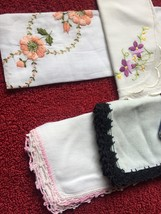 Set of 6 vintage embroidered handkerchiefs (mixed set) image 2