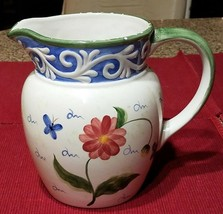Large Ceramic Jug or Drink Pitcher, Flowers, Made by Certified Internati... - $14.00