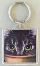 Square Cat Art Keychain - Tabby Bowl Face - $7.00