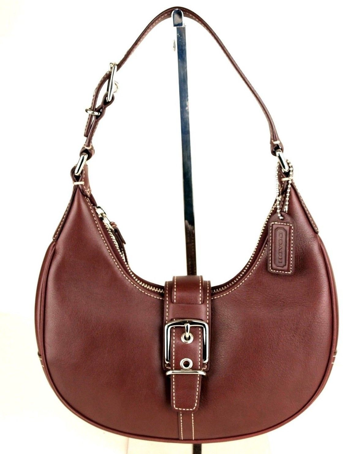 Authentic COACH Burgundy Leather Hobo Shoulder Bag Handbag Purse Good Condition