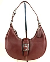 Authentic COACH Burgundy Leather Hobo Shoulder Bag Handbag Purse Good Co... - $98.01